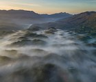 Toàn cảnh vùng núi Đại Bình nhìn từ hướng TP. Bảo Lộc vào sáng sớm